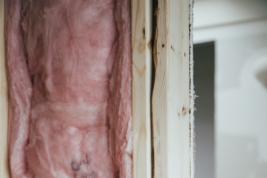 Closeup of Exposed Insulation in Wall of Home