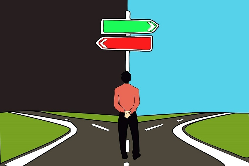 Animated man at fork in road deciding between right and wrong choice of paths