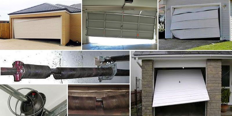 Broken garage doors collage